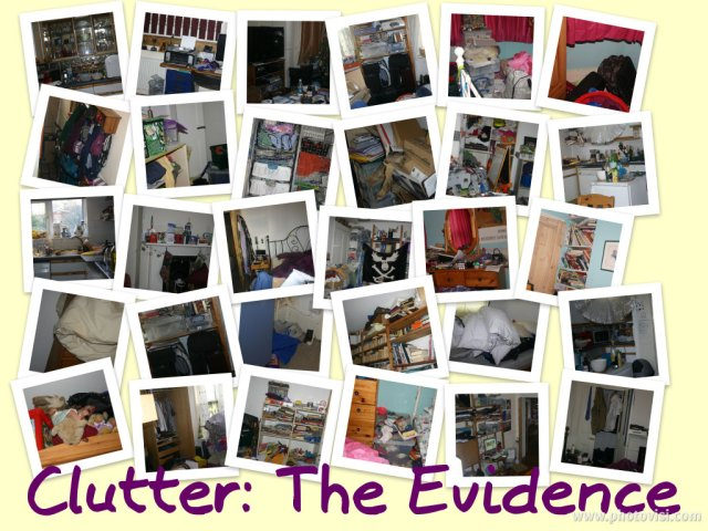 a collage of cluttery bits of our house